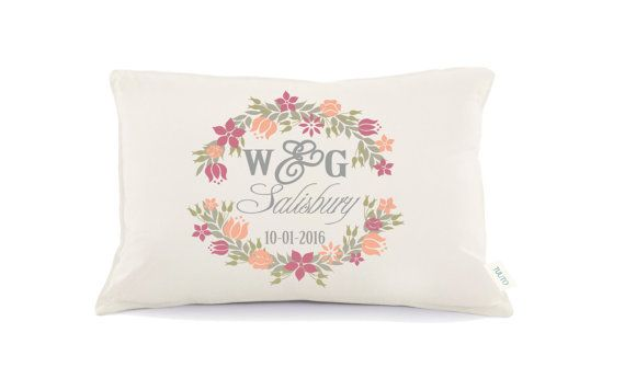 Floral Pillow Mr & Mrs Pillow Personalized Wedding by Tulito