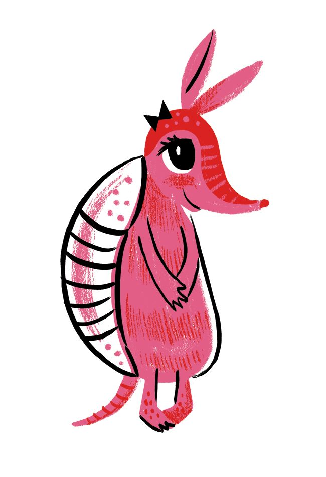 Character Challenge Day 32 by Brad Woodard  Meet Anne the Armadillo. She is shy.