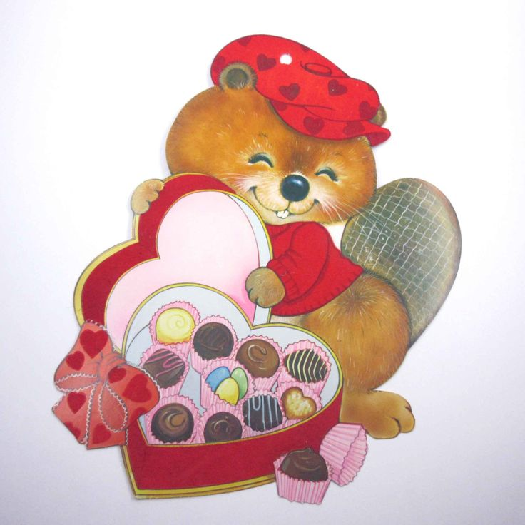 Vintage Flocked Valentine Die Cut of Cute by grandmothersattic