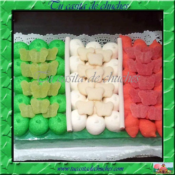 Tarta de chuches bandera de Italia