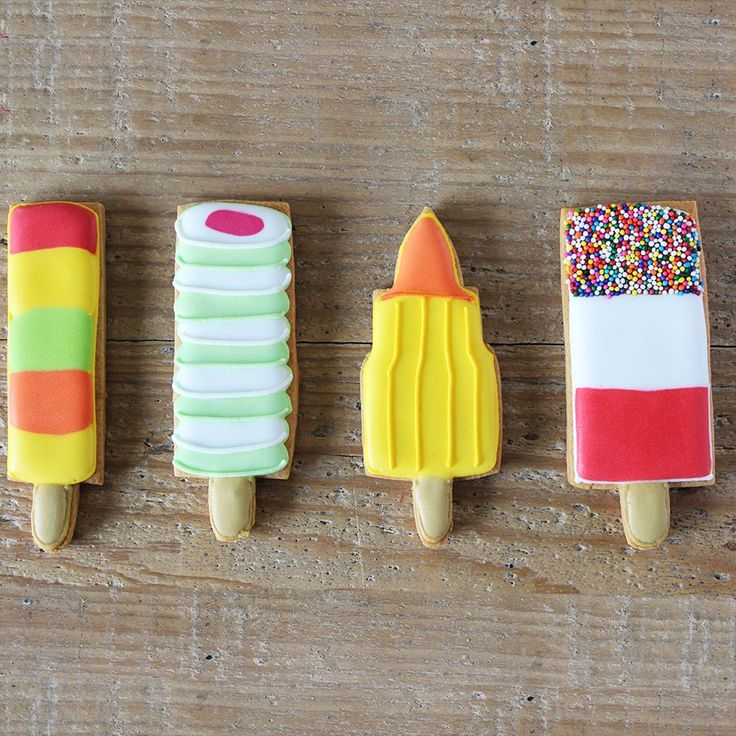 Ice lolly themed biscuits! Inspired by the classics: Fruit pastille, twister, rocket and fab!