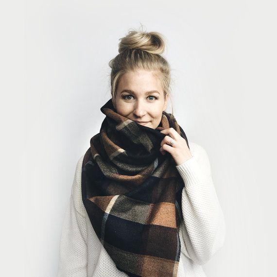 Blanket Scarf Plaid, Oversized Poncho Shawl // Wool Flannel // Navy, Burgundy, Brown