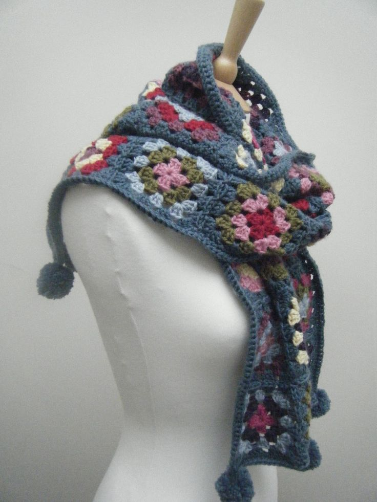 very crochet geek chic!    Yay! All done!   I've finished my granny square scarf and I love it! Which is fortunate really, don't you think...