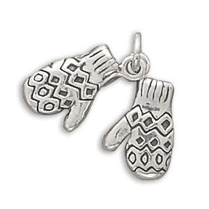 Sterling Silver Mittens Charm Christmas Holiday by jewelrymandave