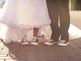 Converse wedding shoes. Best decision we made. Comfy and cute :)