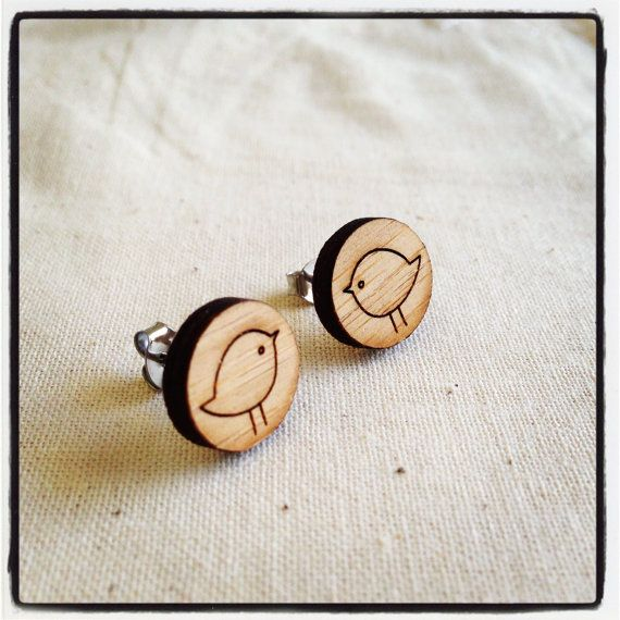 Bird earrings studs   made with eco friendly laser by onehappyleaf, $17.00