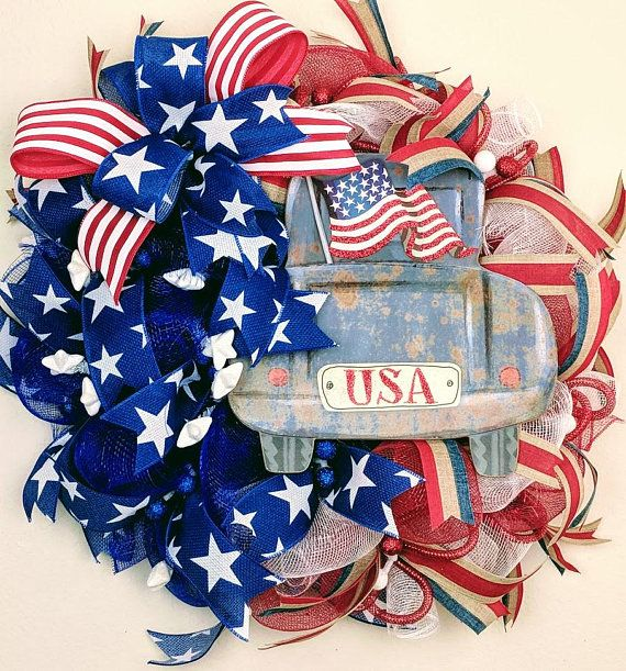 Usa Wreath Patriotic Wreath 4th Of July Wreath Old Truck Wreath Vintage Truck Vintage Usa