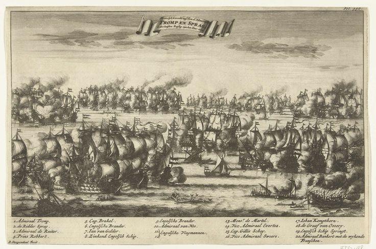 Bastiaen Stopendael | Gevecht tussen Tromp en Spragge tijdens de zeeslag bij Kijkduin, 1673, Bastiaen Stopendael, 1690 - 1692 | Gevecht tussen Cornelis Tromp en Edward Spragge tijdens de zeeslag bij Kijkduin bij Den Helder en Texel tussen de Staatse vloot onder Mchiel de Ruyter en Cornelis Tromp en de gecombineerde Engels-Franse vloot onder prins Rupert en de graaf Jean d'Estrées (II). Onderaan de legenda 1-20. Gemerkt rechtsboven: Fol. 448