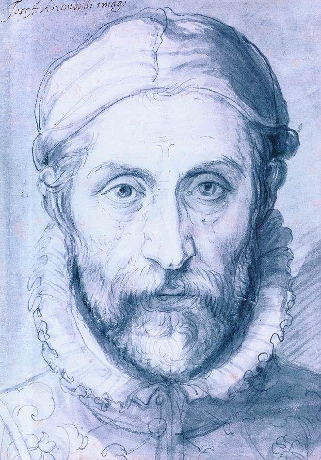 ARCIMBOLDO, Giuseppe  Self-Portrait  1571-76  Pen, blue wash, 231 x 157 mm  Národní Galerie, Prague