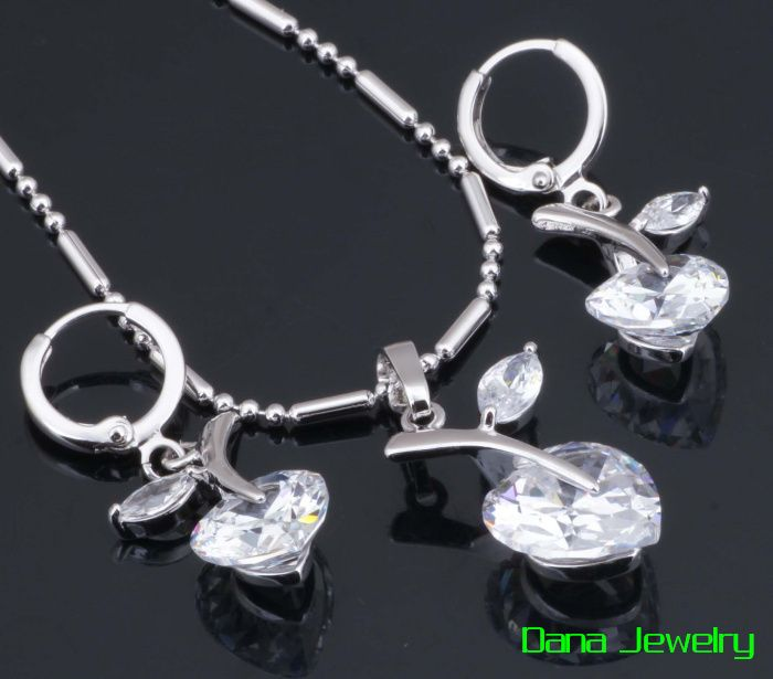 Top Quality White zircon Sets Pendants/Earring 18K White Gold Plated S008 $7.50