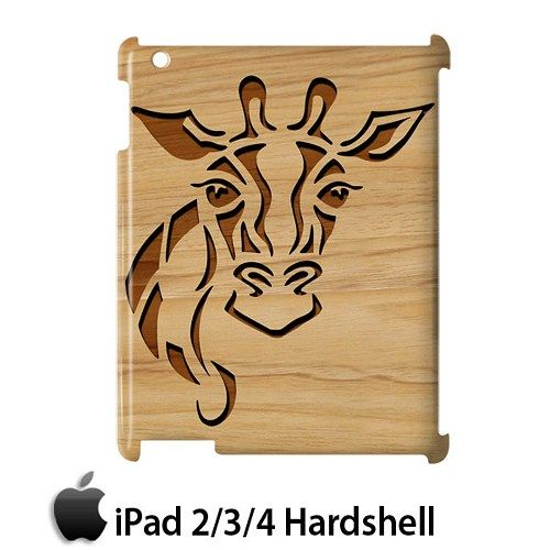Carving Giraffe Style Wood Case for Apple iPad 2 3 4