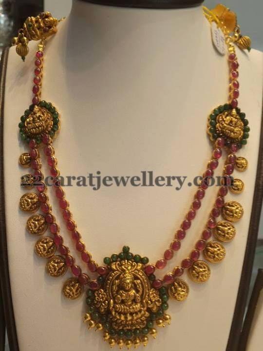Pota Rubies 2 Rows Laxmi Necklace   Jewellery Designs