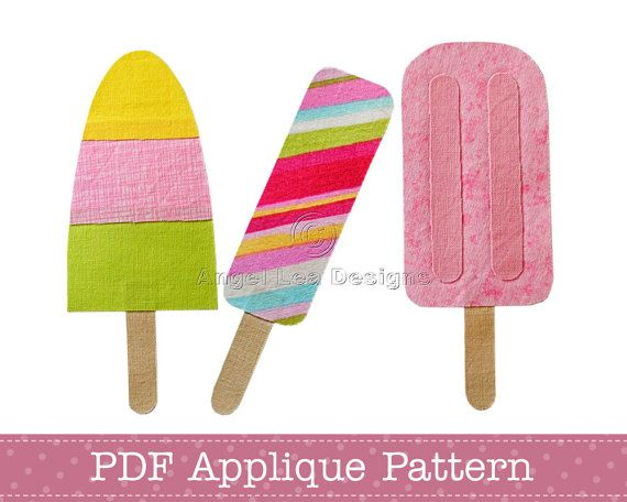 Popsicles Applique Template Includes 3 Popsicle Applique Designs Ice Lolly on Wooden Stick PDF Applique Pattern, Instant Download