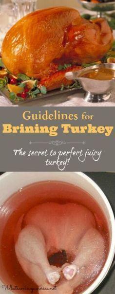 Guidelines for Brining Turkey - The Secret to Juicy Turkey!   |  http://whatscookingamerica.net  |  #brining #turkey #thanksgiving