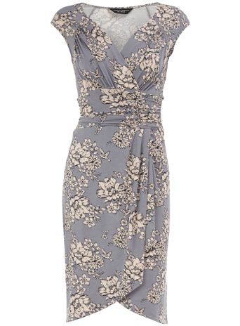 Grey floral waterfall dress @ Dorothy Perkins
