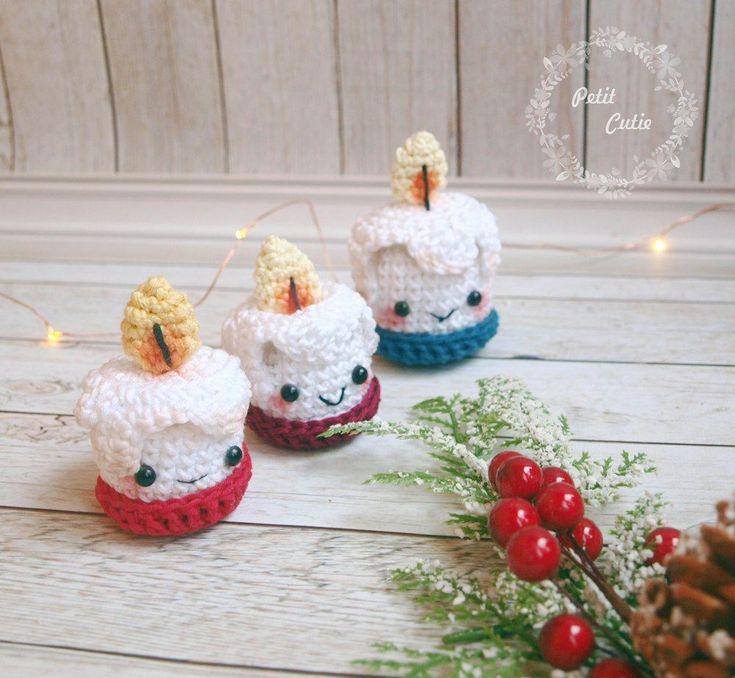 Рождественские свечи амигуруми