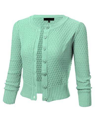 ARC Studio Womens Button Down 3 4 Sleeve Crewneck Cropped Knit Cardigan  Crochet Sweater M Aqua 24e6d7a02