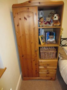 Pine Wardrobe With Shelves And Drawers