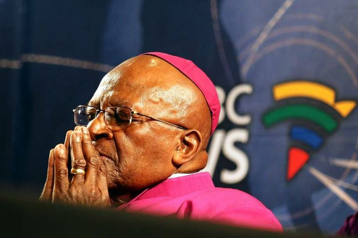 South Africa's Archbishop Desmond Tutu pauses for a moment during a media briefing in Cape Town, a day after the death of his friend and for...