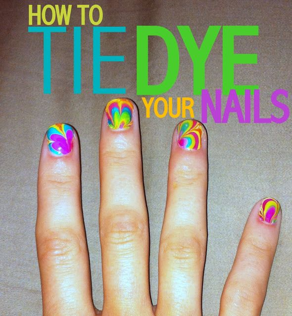 Try tie dying your nails!  Materials:      glass bowl      room temperature water      toothpick      a few nail polish colors      tape      nail polish remover  First, paint your nails a base coat. Then, tape around your nails the best you can. Annie used clear tape so it is hard to see!