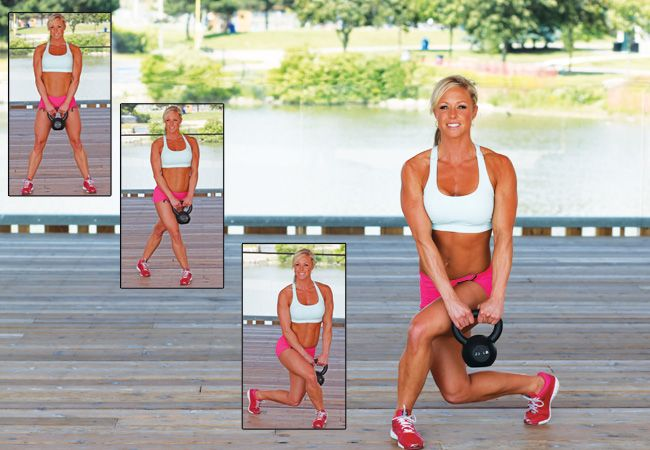 Curtsy lunges with kettlebell - Best exercises for a Brazilian butt! - Women's Health & Fitness