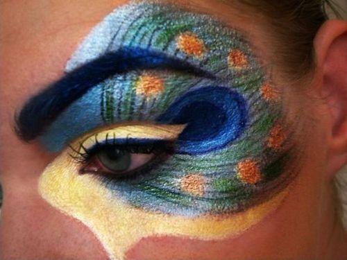 Peacock eye art makeup with gold