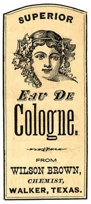 Vintage Clip Art – Pretty Cologne Label – Texas