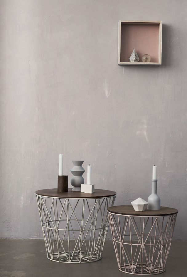 Geometric shapes make up the bottom of these side tables
