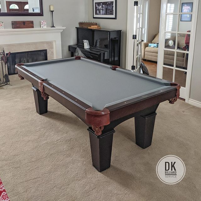 Finished Installing This 7 Foot Olhausen Reno In Dove Canyon Steel Grey Cloth Billiards Dkbilliards Playpool Mancav Pool Table Room Pool Table Billiards