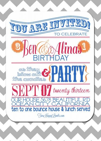 40 best 1st and 3rd birthday combined images on Pinterest Birthday - best of birthday invitation card online maker