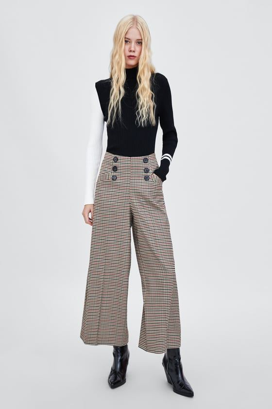 e00020a0 BUTTONED PALAZZO TROUSERS - Available in more colours Wide Leg Pants,  Search Engine, Zara