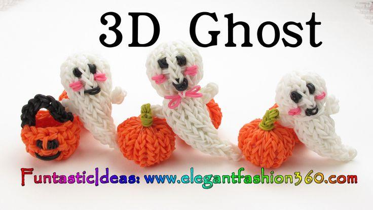 Rainbow Loom 3D Ghost/Casper Charm - Halloween-How to loom bands tutorial