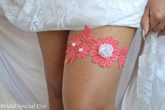 Coral Lace Wedding Garter Set/ Bridal Garter by BridalSpecialDay, €20.00