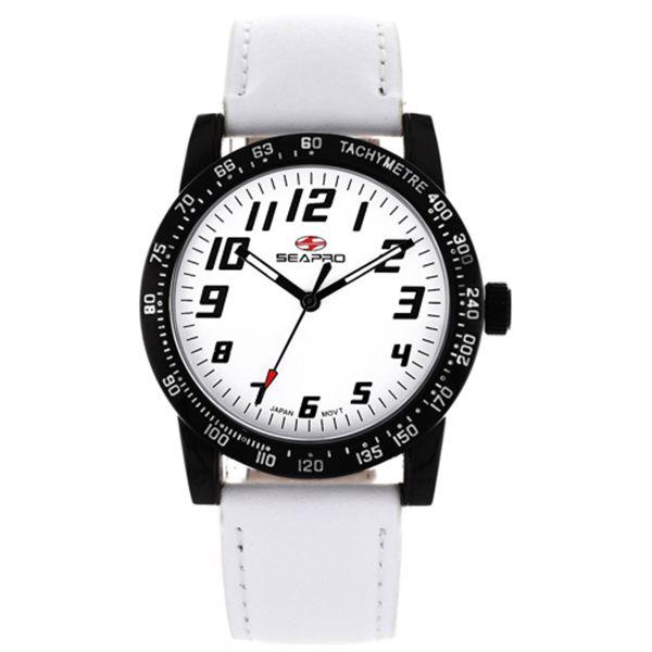 Women's White Dial White Leather - Seapro Watch