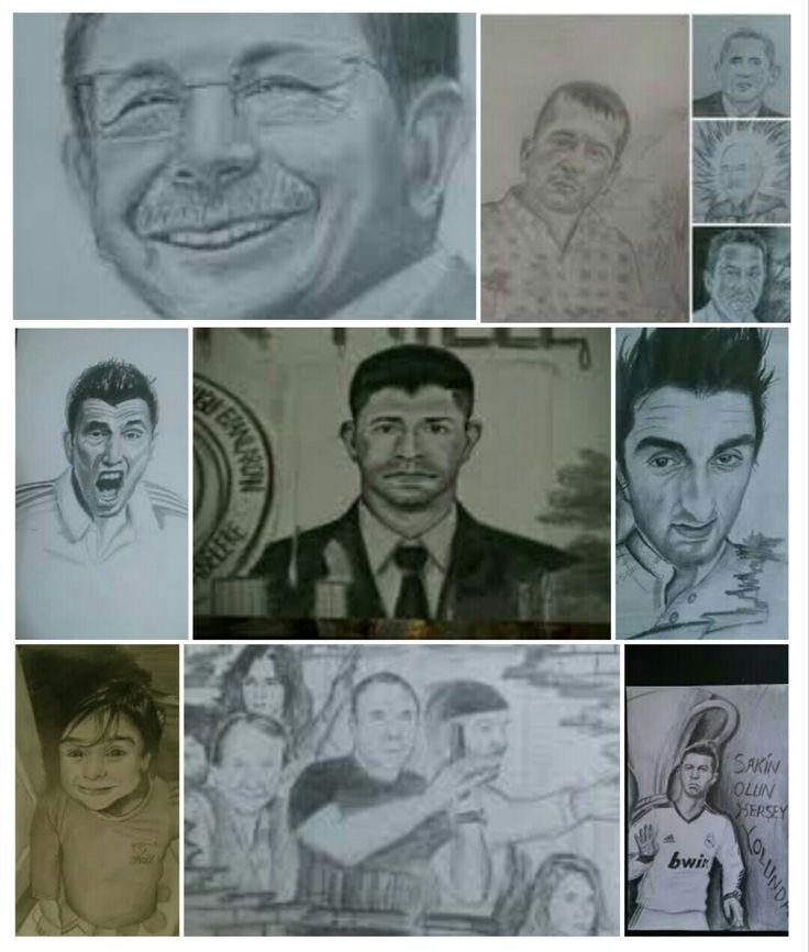 Çoklu çekim Karakalem portre çizim
