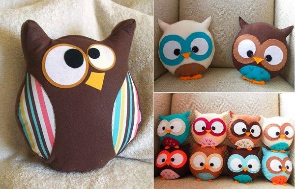 DIY Cute Owl Pillow - http://www.decorationarch.com/creative-ideas/diy-cute-owl-pillow.html