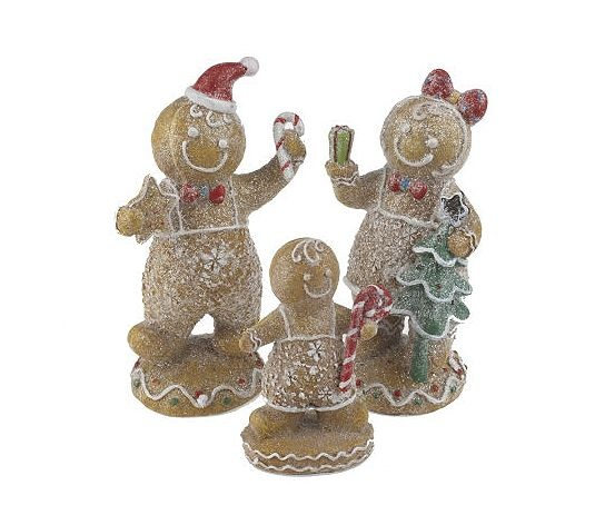 QVC - Valerie Parr Hill - Gingerbread Family: Statue, Figure, Santa, Pair, Meissen, Porcelain, Christmas, Gingerbread Houses, Figurine