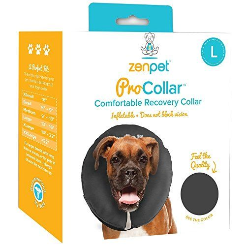 ZenPet Comfortable Recovery ProCollar - Large  Does not block vision  Lightweight, breathable fabric  Available in 6 sizes  Large size fits dog with 13 - 16-inch neck  Machine washable
