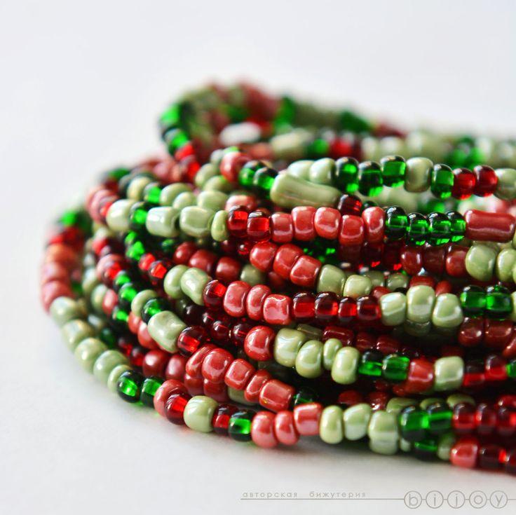Купить Многорядные бусы из бисера «Рождественское настроение» - красный и зеленый, зеленый и красный, красно-зеленый