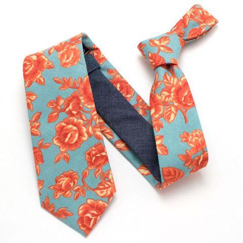 Vintage Flame Rose & Indigo Necktie - Handmade Vintage Ties, Bow Ties, Pocket Squares, Bandanas, and Men's Furnishings - General Knot & Co. ($98.00) - Svpply