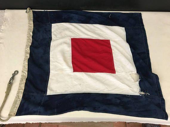 Boat Flag  Vintage Nautical Flag  Display Flag  Cotton Flag
