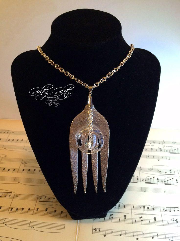 Handmade silver plate vintage repurposed large serving fork pendant by GiltyGlitz on Etsy