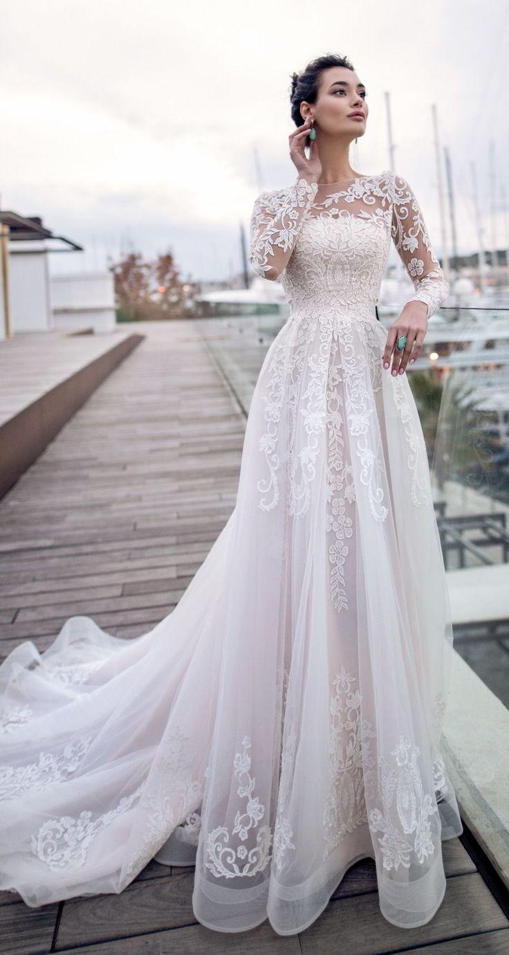 nora naviano 2019 bridal long sleeves sheer bateau neckline full embellishment r…