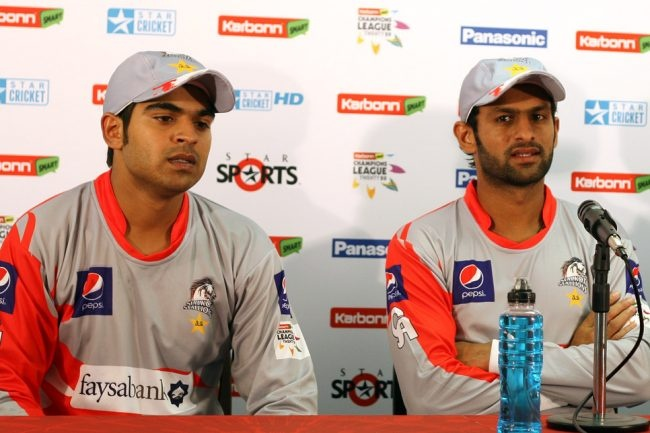 Haris Sohail, Shoaib Malik at a press conference after the 6th Qualifying match Hampshire vs Sailkot Stallions CLT20, Johannesburg, 11 Oct 2012