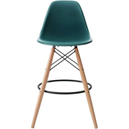 """2xhome - Pink - 28"""" Seat Height Modern Eames Style Bar Stool Barstool Counter Stools with backs and armless Natural Legs Wood Eiffel Legs Dowel-Leg Image 2 of 3"""