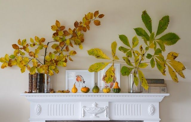 Bringing pretty fall branches indoors = beautiful decor for cheap!: Fall Leaves, Fall Decor, Fall Mantels, Style Inspiration, Fall Mantles, Autumn, Mantels Ideas, Fall Flower, Branches