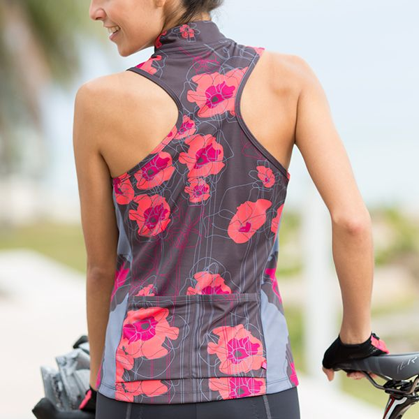 "Terry Sun Goddess cycling jersey for women. 10"" front zipper; racer back and 2 rear open pockets; wicking fabric with UV and anti-odor protection. Semi-fitted."