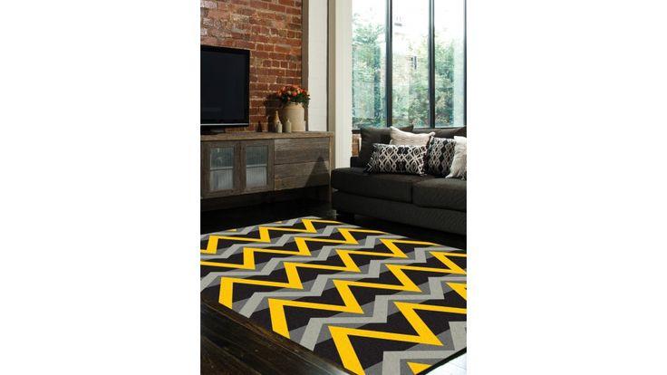 Zest Frequency Grey And Yellow Medium Rug - Flooring - All Rugs - Carpet, Flooring & Rugs | Harvey Norman Australia