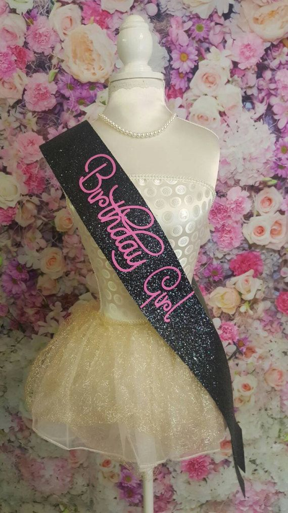Beautiful handmade black glitter Birthday sash  Perfect for