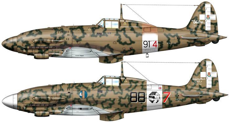 "1) Macchi MC 205 serie III ""Veltro"" serie III MM. 92204 ""91-4"" - Regia Aeronautica, 1943. 2) Macchi MC 205 v serie I MM. 9313 AS ""88-7"" - Regia Aeronautica, 1943."